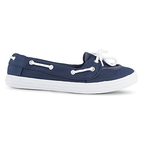 Navy Canvas Women's Shoe Twisted Boat Casual WYUEng