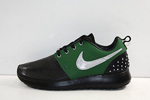 Nike Women's Roshe Run Kate X Doernbecher DB, Size 7. Black/fortress green/metallic silver.