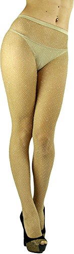 ToBeInStyle Women's Spandex Seamless Glittery Fishnet Pantyhose Tights Hosiery - Beige with Silver Glitter - One Size: (Gold Tights)