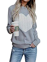 Ibelive Womens Cute Heart Patern Crewneck Sweaters Pullovers Tops