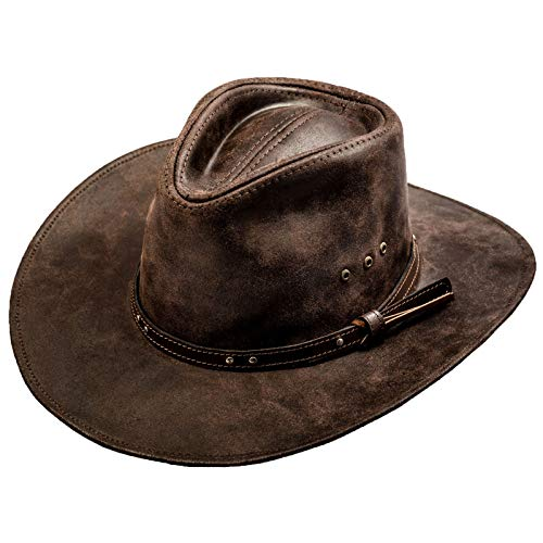 a38c80db5716f Sterkowski Cattle Leather Classic Western Cowboy Outback Hat US 6 7 8 Dark  Brown