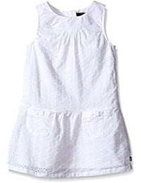 Baby Girls Eyelet Dress With Round Collar and Pockets