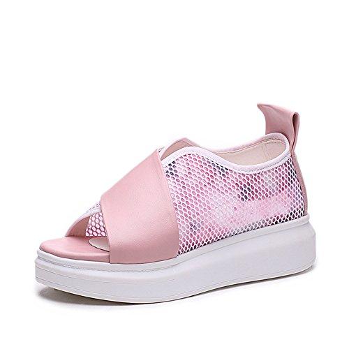 Kvinners Plattform Sandaler Tykk Bunn Sommer Mote Hvit Rosa Flatform Sandal 1.pink