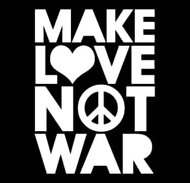 Make Love Not War Decal Vinyl Sticker|Cars Trucks Vans Walls Laptop| White |5.5 x 4 - Yoko Sunglasses
