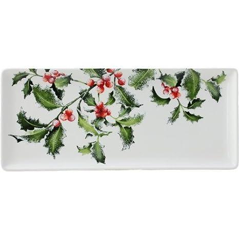 Gien Francia Holly noel de Navidad rectangular Bandeja para servir ...