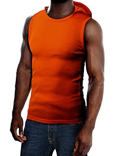 (H2H Mens Cotton Hooded Sleeveless T-Shirts Orange US XL/Asia XXL (JPSK05))