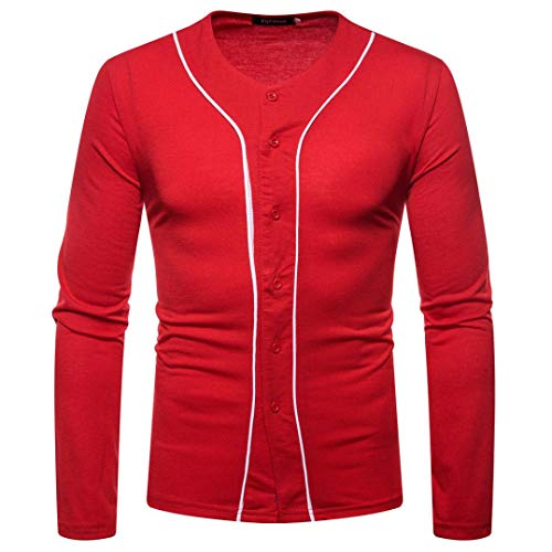 kaifongfu Top Men,Solid Color Panel Long Sleeve Button V-Neck Shirt Men Autum Winter Blouse(Red,M) (Basketball T-mac Shoes)