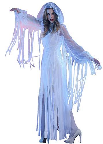 KXYKZM Womens Horror Bloody White Bride Halloween Cosplay Costume Fancy Dress -
