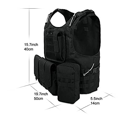RUNACC Tactical Vest Combat Training Vest Outdoor Supplies for CS Games Hunting and Shooting, Black