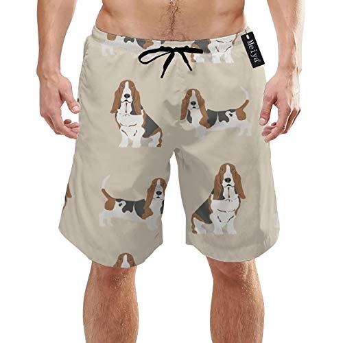 Yunilya Basset Hound Dog Mens Summer Swim Trunks 3D Graphic Quick Dry Funny Beach Board Shorts with Mesh Lining White
