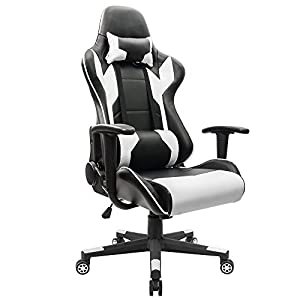 Homall Executive Swivel Leather Gaming Chair, Racing Style High-back Office Chair With Lumbar Support and Headrest (White)