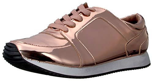 N.Y.L.A. Women's Mirage Fashion Sneaker, Rose Gold Mirror, 7 M US