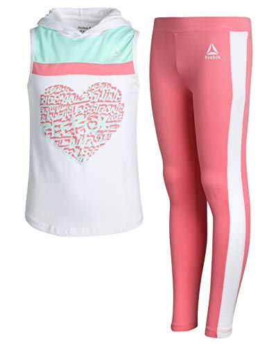Reebok Girls' 2-Piece Athletic Top and Legging Set, White/Coral, Size 7' ()