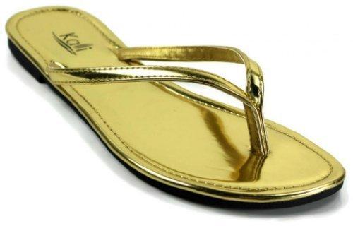 Kali Footwear Women's Twins Basic Patent Flat Thong Sandal, Gold 11 ()