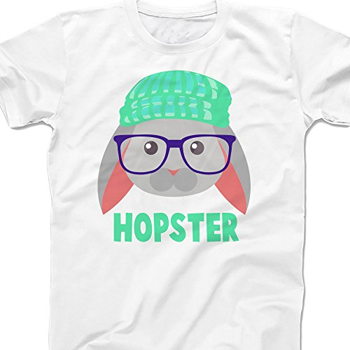 (Hopster Funny Easter Shirt - Hipster Bunny Rabbit - White (YM (10)))