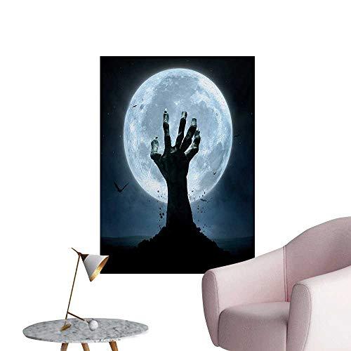 Anzhutwelve Halloween Photographic Wallpaper Realistic Zombie Earth Soil Full Moon Bat Horror Story October Twilight ThemedBlue Black W24 xL32 Poster Print