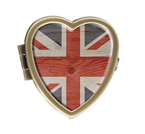 (English UK Flag of Great Britain London Theme Union Jack Design Bronze Pill Case Box Western Medicine Tablet Holder Decorative Bronze Pill Box for Pocket or Purse)
