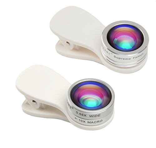 FINNKARE 3 in 1 180 Degree Fisheye Lens, 10X Macro Lens & 0.65X Super Wide Angle Lens, Clip on Cell Phone Lens Camera Lens Kits for iPhone, Tablets, Android & Most Smartphones - White (Lens Tablet)