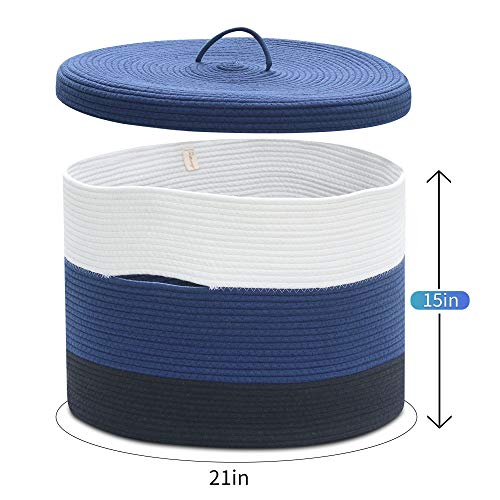 Extra Large Blue Cotton Rope Woven Basket for Laundry,Toys,Blankets,Pillows with Lid