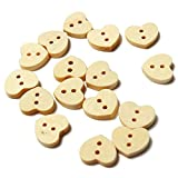BoatShop 100pcs Wooden Heart Shaped Buttons DIY Sewing Accessories