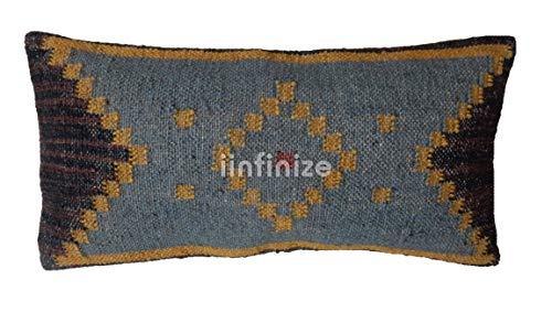 iinfinize - Indian Wool Jute Kilim Pillow Cover Bohemian Abstract Design Handwoven Rectangle Shape Hippie Throw Home Decor Sham Decorative Stylish Rest Pillow Floor Cushion Cover 12x24 Sofa Bed Decor ()