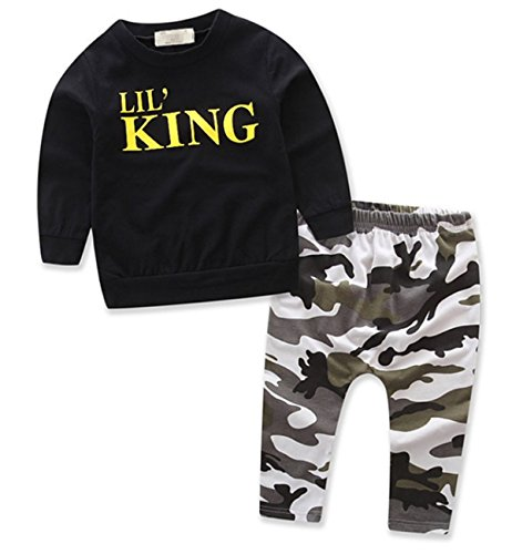 Little Baby Boys Long Sleeve Clothing Set T-shirt and Camouflage Pants KING