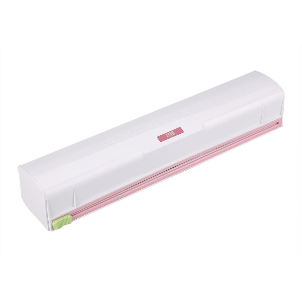 Fdit Food Wrap Dispenser Home Slide Cutter Plastic Kitchen Wrap Cutter Cling Film Storage Holder