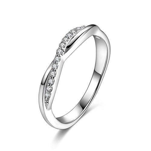 (SILBERTALE 925 Sterling Silver Twisted CZ Stackable Half Eternity Infinity Love Ring Wedding Band Size 6)