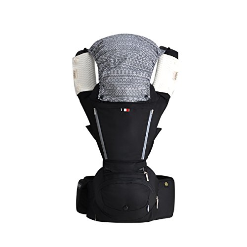 Bebamour Baby Carrier with Hip Seat 6 in 1 Ergonomic Baby Carrier Backpack 0-36 Months (Black)