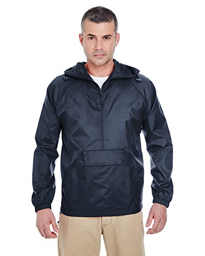 Reversible Zip Jacket 1/4 (UltraClub 8925 Men's Solid 1/4-Zip Hooded Pullover Pack-Away Coat L True Navy)