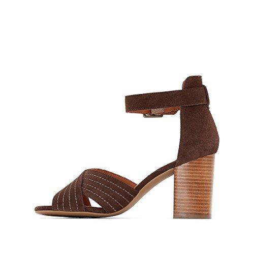 Crossover Chocolate Straps Redoute Leather Sandals La Womens Collections with 18R8aZY