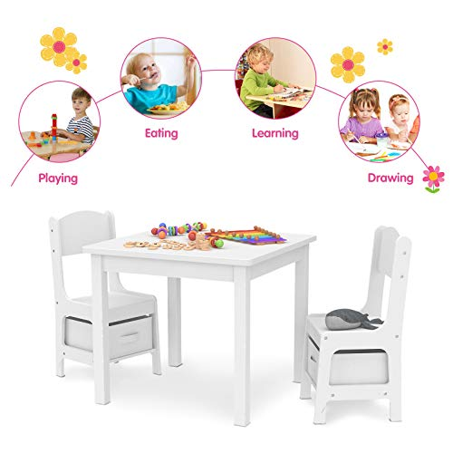 Mecor Kids Table and Chair Set with 2 Storage Boxes, Childern Play Desk w/ 2 Chairs for Arts & Crafts, Snack Time, Homeschooling, Homework & More (White)