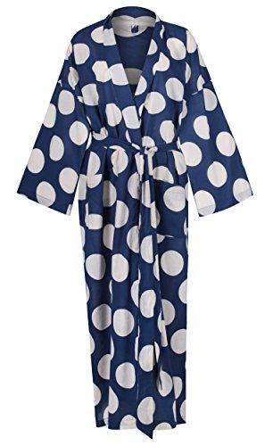 Women s Kimono Cotton Robe Bathrobe Long Dressing Gown Bridesmaid 100% Organic  Lightweight Cotton  Blue Yukata 1112ac87b