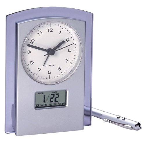 Desk Clock - Dual Analog/Digital Display - Time/Day/DateAlarm/Snooze.