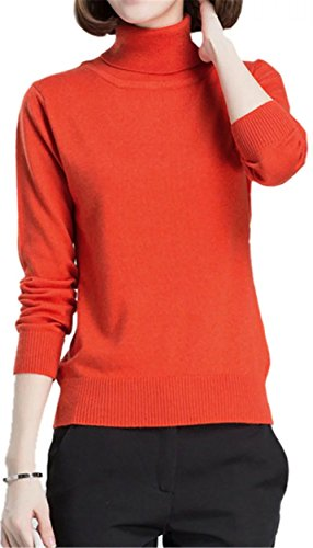 Betusline Women Fashion Basic Solid Turtleneck Sweater Pullover Orange,US 10