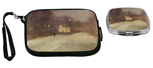 - Rikki Knight James Abbot McNeill Whistler Nocturne Snow in Chelsea Design Neoprene Clutch Wristlet with Matching Square Compact Mirror