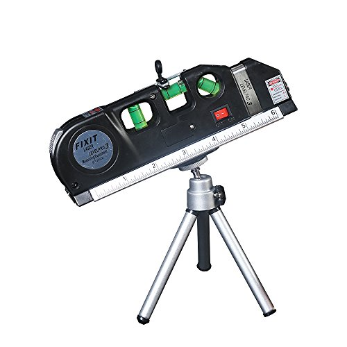 FivePears Multipurpose Laser Level Horizon Vertical Measure 8FT + Tape Measure Ruler Adjusted Standard and Metric Rulers with tripod.