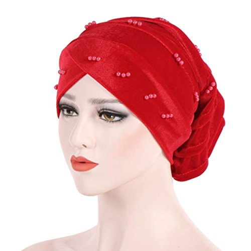 SUKEQ Women Elegant Beaded Beanie Hat, Ladies Ruffle Jewelry Chemo Hat Cap Turban Head Wrap Scarf for Cancer Patients (Red) ()