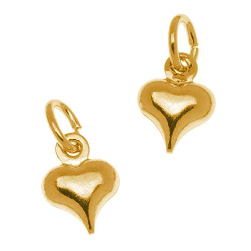 Beadaholique 22K Gold Plated Small Puff Heart Charm With Ring - 8.5x6.5mm (6)