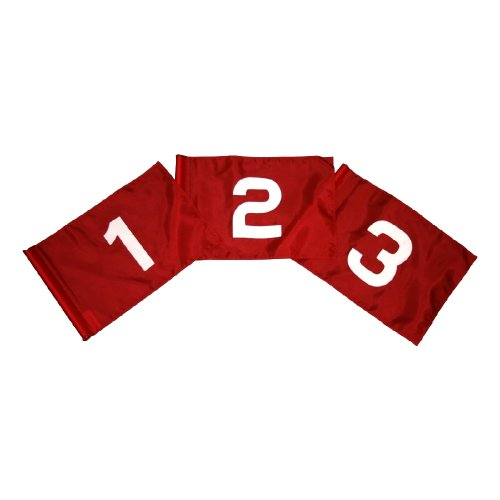 Golf Flag Set - Red and White Flag #'s 1-9 14 in. x 20 in. by Flags Unlimited (Image #1)
