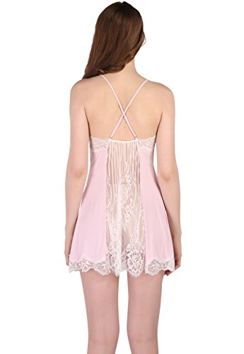 Vislivin Women's Two Piece Negligee and Nightgown Set Light Pink