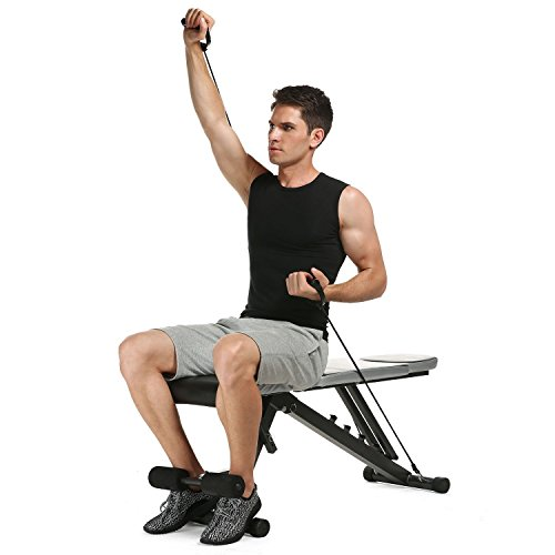Anfan Multi-Function Adjustable Weight Bench, Five-Position Dismountable Foldable Weight Bench With Resistance Bands For Gym Office Home (US Stock)