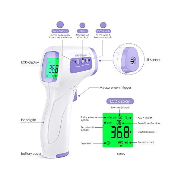 Thermometre Frontal, KKmier Thermomètre Médical Frontal avec Affichage LCD, Thermometre sans Contact pour Bébé Enfant…