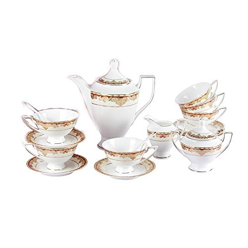 Porlien Exquisite 17-Piece Gold Tea Set Trimmed with Red, Porcelain, Service for 6, Gift Box