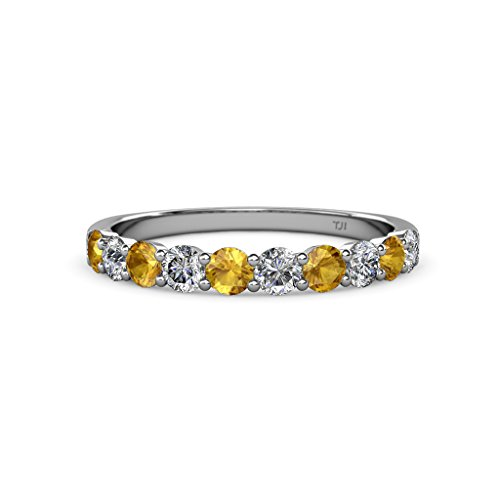 Citrine and Diamond (SI2 I1, G H) 10 Stone Wedding Band 1.00 ct tw in 14K Gold