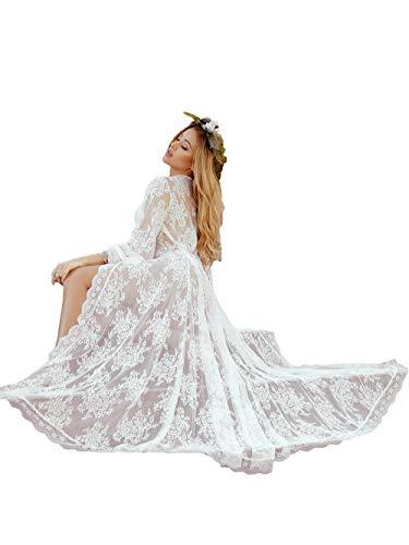 (Women Sexy Long Lace Dress Sheer Gown See Through Lingerie Kimono Robe (White, One Size))