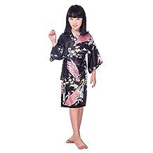 Honeystore Girls' Satin Silk Kimono Robe Peacock Children Spa Bathrobe Nightgown