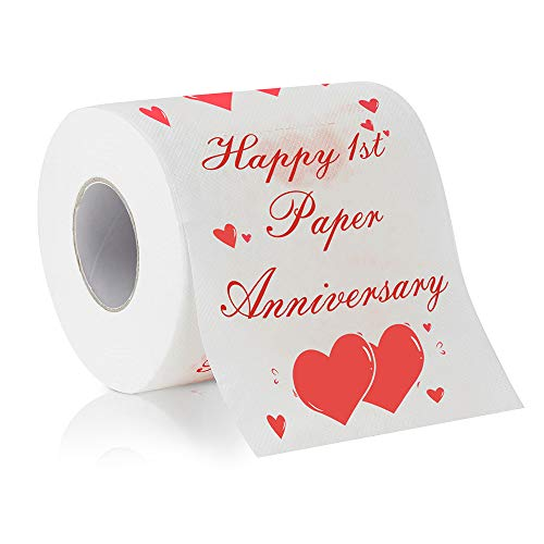Cleaky Happy 1st Paper Anniversary Printed Toilet Paper Gag Gift, Funny Novelty Anniversary Present for Him or Her