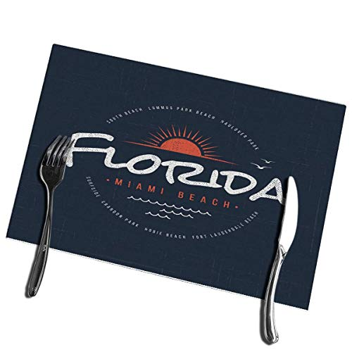 6pcs Manteles individuales de mesa de comedor Florida Miami Beach Manteles individuales resistentes al c