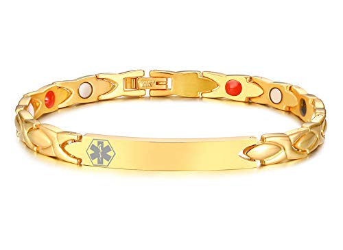 MEALGUET Personalized Gold Plated Stainless Steel Magnetic Therapy Health Care Medical Alert ID Bracelets Pain Relief Arthritis